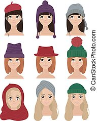 Set of stylish women characters in winter hats
