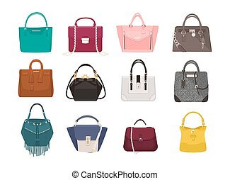 Set of stylish women s handbags - tote, shopper, hobo,...