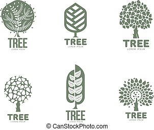Set of stylized abstract graphic tree logo templates, vector illustration