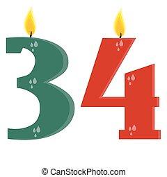 Set of stylized birthday candles