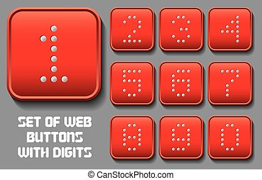 set of stylized buttons with different digit