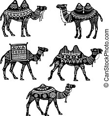 Set of stylized figures of decorative Camels