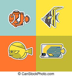 set of stylized fish