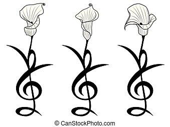 set of stylized flowers