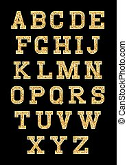 set of stylized gold texture letters with metallic sheen and stroke