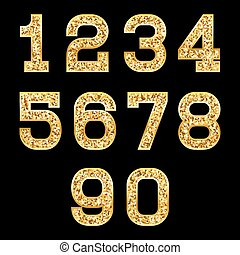 set of stylized gold texture numbers with metallic sheen and stroke