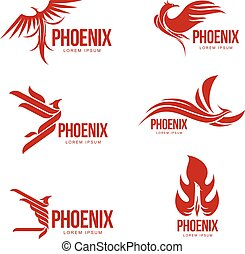 Set of stylized graphic phoenix bird logo templates, vector illustration