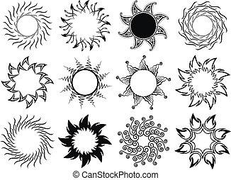 Set of stylized graphic sun symbols