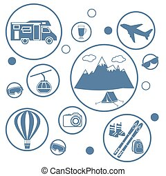 Set of stylized icons of tourist equipment and accessories in the mountains