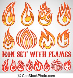 set of stylized icons with flames