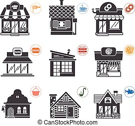 Set of stylized illustrations of restaurants in form of one color icons
