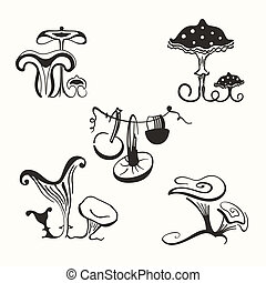 mushrooms - Set of stylized mushrooms