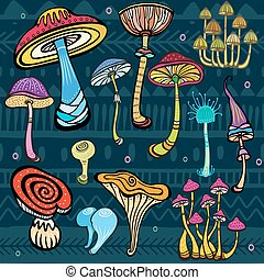 Set of stylized mushrooms - Set of stylized colored...