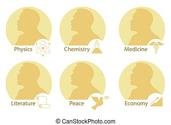 Set of stylized Nobel medals. Silhouette of Nobel in a flat style.