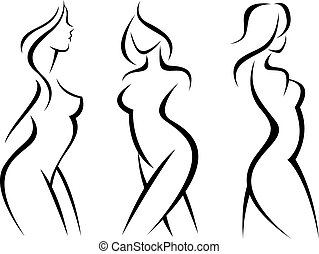 Set of stylized silhouettes woman body