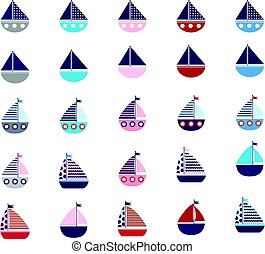 Set of stylized vector boats isolated on white