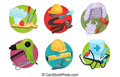Set of subjects characters professions. Vector illustration.