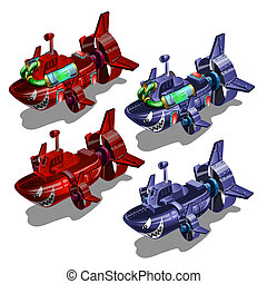 Set of submarines in the style of multi-colored toothy fish isolated on white background. Vector illustration.