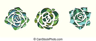 Set of succulents with a top view with 3d background cut out of paper in green color on white background.