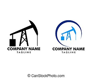 Set of Sucker rod pump icon logo for oil and gas industry