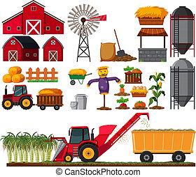 Set of sugar cane farm element