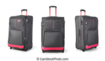 Set of suitcases on a white background