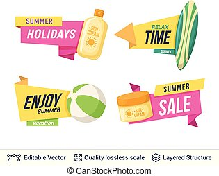 Set of summer badges isolated on white. - Tourist objects...