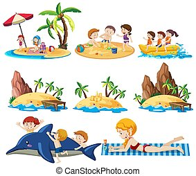 Set of summer beach activities and kid icon cartoon style isolated on white background