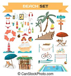 Set of summer beach objects