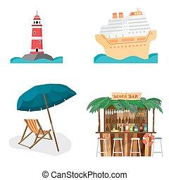 Set of summer beach objects. Summer Holidays. The lighthouse, cruise ship, beach bar, beach umbrella and chair