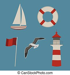 Set of summer by the sea icons
