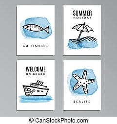 Set of summer cards with hand drawn doodles, sketches