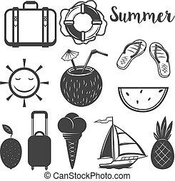 Set of Summer design elements. Vector illustration