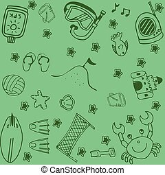 Set of summer doodle art
