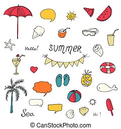 set of Summer doodle elements, vector sketch