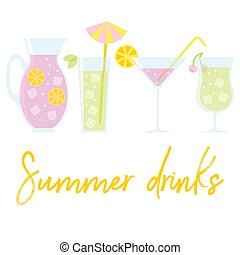 Set of summer drinks in flat style.