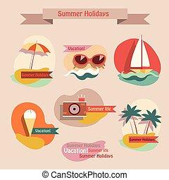 Set of summer elements