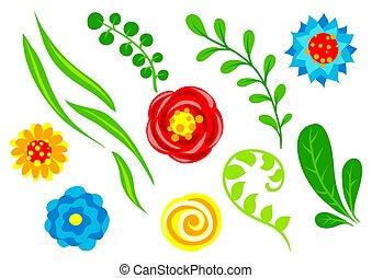 Set of summer flowers.