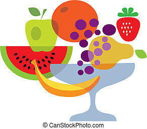 set of summer fresh fruits, vector illustration