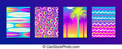 Set of summer holidays and vacation hand drawn multicolored background