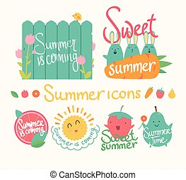Set of summer icon. Isolated vector elements.