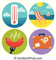 set of summer icons in flat design