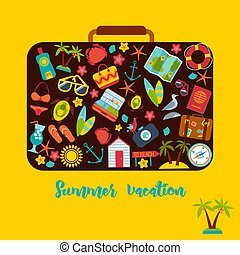 Set of summer icons inside a suitcase.