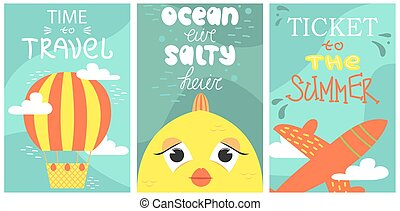 Set of summer postcard with cute fish, plane and air baloons. Vector cartoon illustration. Travelling