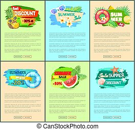 Set of Summer Promo Posters with Exotic Fruits