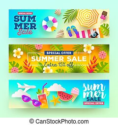 Set of summer sale banners.