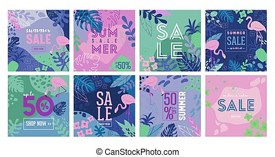 Set of Summer Sale poster with tropic leaves, flowers, flamingoes, advertisement banner and tropical background in modern flat style, flash spring special offer, poster vacation ad, flyer. Vector