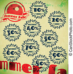 Set of summer sale retro labels