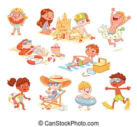 Set of summer scenes with children. Vacation at sea