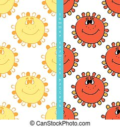 set of summer seamless pattern